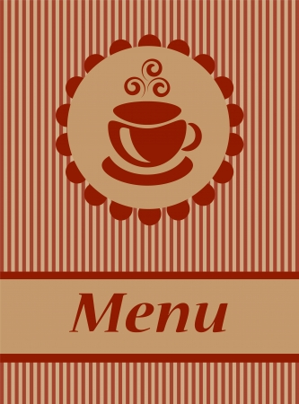 coffee menu with a stylized image of coffee cup with steam on a brown background with stripes   Vector