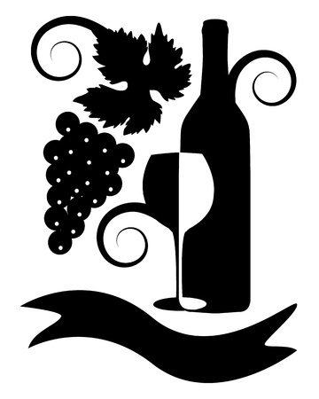 red wine pouring: black-and-white image of a bottle of wine, a glass, ribbon, a bunch of grapes, leaves and curls