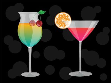 two cocktails at the grocery decorated with a slice of orange and a cherry on a black background Stock Vector - 15780365