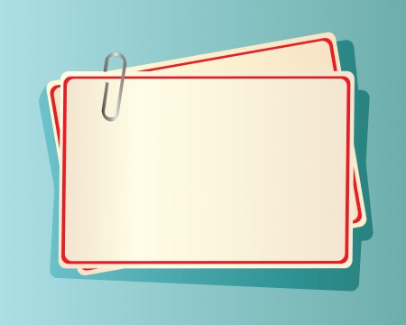 staple: paper cards with red edging, fastened together with a staple in blue background   Illustration