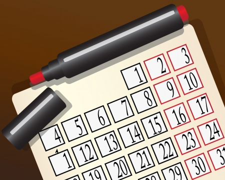 excretion: monthly calendar and a red marker to lie on the brown surface
