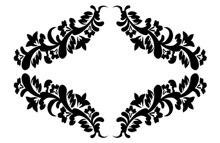 black ornate floral pattern in retro style on a white background Stock Vector - 15780368