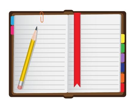 Tagebuch mit einem Lesezeichen, nur einen Bleistift und Büroklammern auf weißem Hintergrund