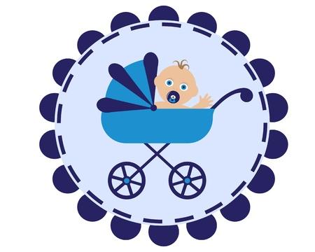 poussette: ic�ne avec l'image d'une poussette bleu et assise dans son b�b� avec sucette