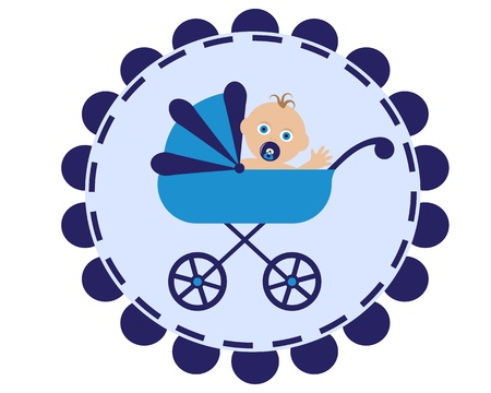 baby goods: icon with the image of a blue stroller and sitting in her baby with pacifier