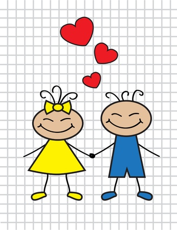 cartoon-loving children boy and girl with hearts     Vector