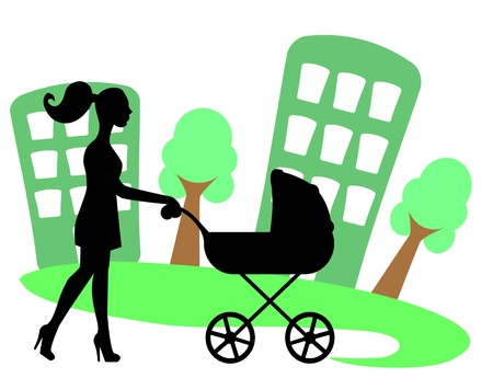 silhouette of a woman with a baby carriage on the background of the city   Vector