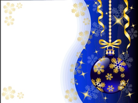 spherule: christmas background with shiny blue Christmas toys and gold snowflakes   Illustration