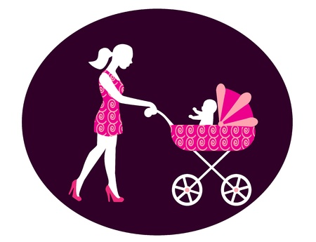 only baby girls: woman with a baby carriage from which the child looks  Stroller and women alike dress decorated   Illustration