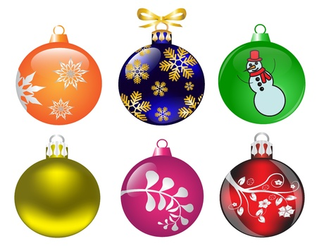 ecoration: set of Christmas balls of different colors and different patterns on a white background