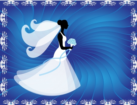 silhouette of a bride in a white dress and veil on a blue background with decorative elements Vector