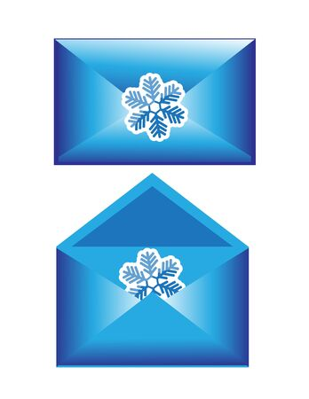 worldwide wish: two shiny blue Christmas envelope with snowflakes  One envelope is opened, the other closed