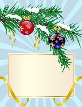 Christmas greeting card with shiny ribbons and fir branches with hanging toys Stock Vector - 15979744