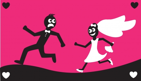 Groom runs away from the bride in a white dress with a bouquet.   Vector