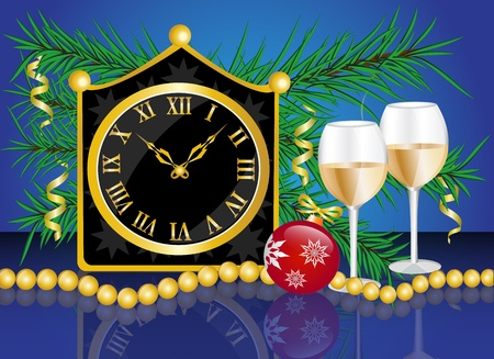 Christmas card with a clock, champagne glasses and fir branches with Christmas decorations     Vector