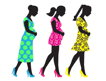 Silhouettes of pregnant woman in different clothes and with different hairstyles Stock Vector - 16253654