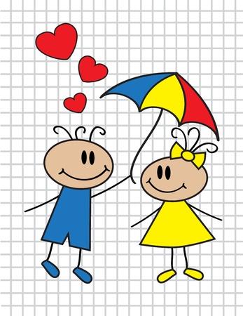 heterosexual couple: cartoon children in love with umbrella