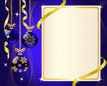 copy: paper blue Christmas ornaments and gold ribbon shiny and New Year s balls