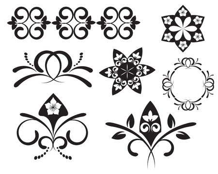black patterns with different swirls and floral elements Stock Vector - 16253659