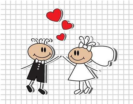 nuptials: cartoon of the bride and groom dressed in a white dress and veil.
