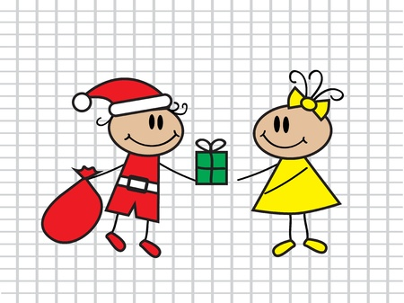 humility: cartoon boy with a bag in a suit of Santa Claus handing a gift girl
