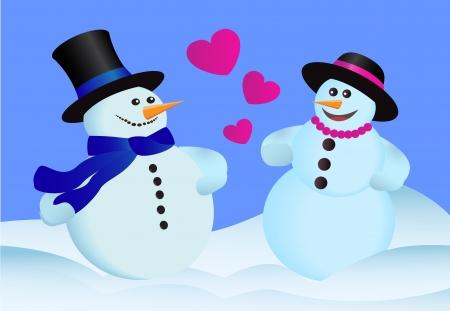 heterosexual: dos amantes heterosexuales pie mu�eco de nieve en la nieve Vectores