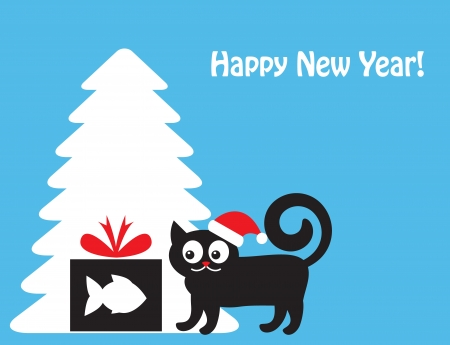 cat in a New Year s hat looking at a gift box with a silhouette of fish  Cat and gift shows in the background silhouette of Christmas tree   Vector