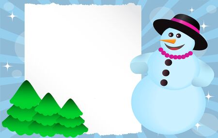 Snowman with hat and beads with a paper poster and green trees   Vector
