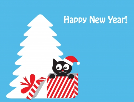 cat in gift box on the background of the Christmas tree Vector