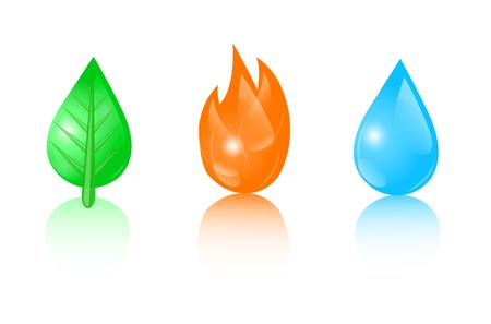 fire water: ecology icons depicting a drop, leaf and fire Illustration