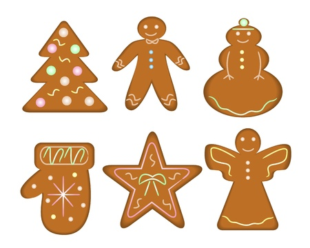 Christmas gingerbread in the form of man, stars, snowmen, angels, Christmas trees and mittens   Vector