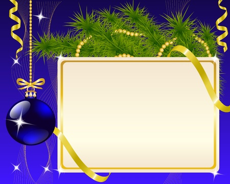 year 's: paper blue Christmas ornaments and gold ribbon shiny and New Year s ball