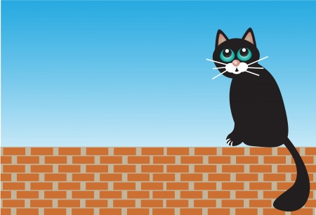 sad black cat sitting on the bricks Stock Vector - 16516805