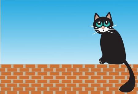 ennui: sad black cat sitting on the bricks