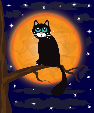 black cat sitting on a tree branch against a full moon Illustration