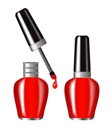 leuchtend roten Nagellack in einer brillanten flakone Butylka in der offenen und geschlossenen Form einem Tropfen Lack tropft vom Pinsel angezeigt