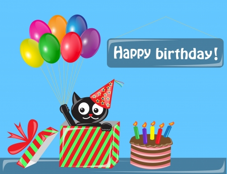 black cat in a celebratory cap comes out of a gift box  Cat keeps in paw balloons  Near the gift boxes is a cake with candles      Vector