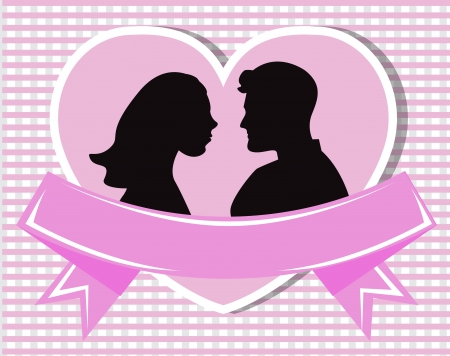 passion couple: silhouettes of loving couple in a heart. Heart decorated with ribbon