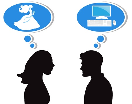 silhouettes of man and woman in profile. The woman thinks about marriage, the man thinks about the computer   Stock Vector - 16654812
