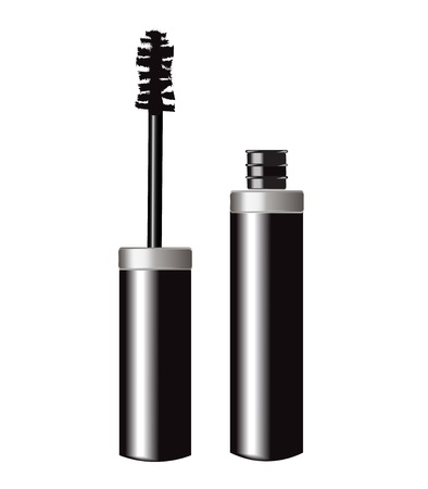 eyelashes: open tube of glossy mascara on white background