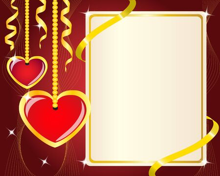 Hanging red hearts and a poster with a gold ribbon Vector