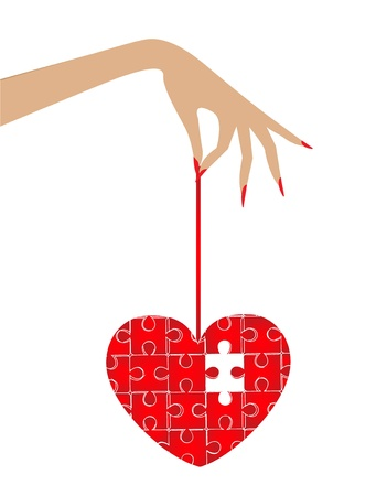 woman s hand, which holds the heart puzzle  In the puzzle missing a beat Stock Vector - 16748215