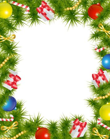 Christmas frame made of fir branches adorned with Christmas decorations, gifts, stars and candy   Stock Vector - 16755253