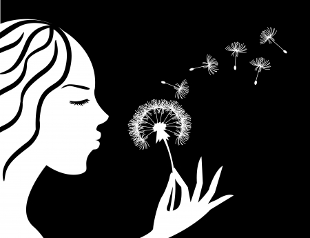 silhouette of a girl in profile blowing on dandelion Vector