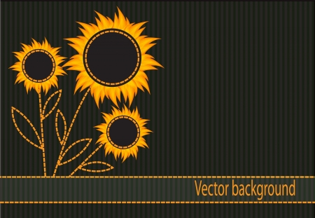 abstract striped background with dark orange flowers Stock Vector - 16824811