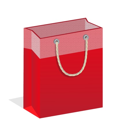 branded: Red branded bags with handles on a white background Illustration