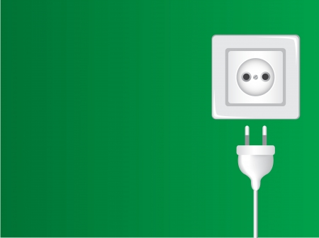 wall plug: white socket and plug against the green wall   Illustration