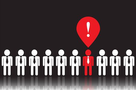 recruitment icon: white icons people in ties on a black background. One of people  has a bright idea. it is red Illustration
