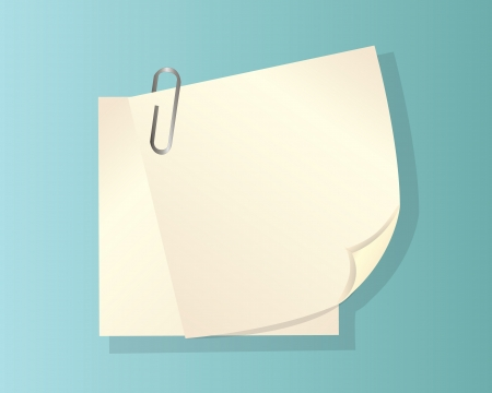 writing materials: two sheets of paper with a curved edge and clip Illustration