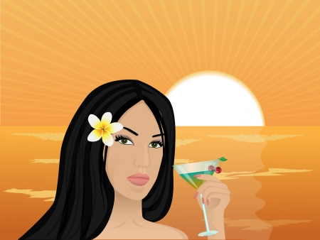 beautiful girl with frangipani flower in her hair holding a cocktail with cherry on the sunset and the sea Stock Vector - 16884398